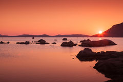 Sunset on the coast of Porto-Vecchio, Corsica Royalty Free Stock Photography