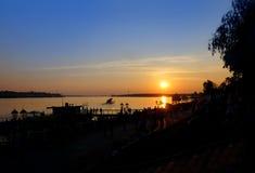 Sunset on coast of river Volga Stock Image