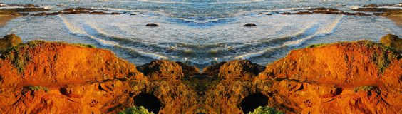 Sunset Coast Rocks Panorama Royalty Free Stock Photography