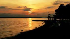 Sunset at coast stock video footage