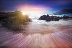 Sunset at coast of the sea Royalty Free Stock Photography