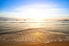 Sunset on coast of Siam Gulf. Stock Photos