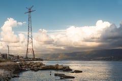 Sunset coast of Sicily near Messina Stock Photo