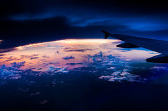 Sunset at the coast view from the airplane Royalty Free Stock Photography