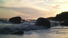 Sunset in Coast with Waves stock video footage