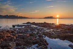Sunset on the coastline of St Briac near St Malo Brittany, France Stock Image