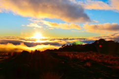 Sunset, Cobb Valley. Kahurangi National Park, New Zealand royalty free stock photos