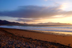 Brandon Bay sunset with mountains on background. Sunset on a cold spring day Royalty Free Stock Photography