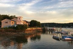 Sunset at Cold Spring Harbor in Huntington, USA Stock Images