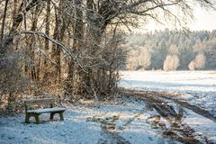 Sunset in a cold white winter day landscape. Road through rural area frosted fields. Bench in forest stock photo