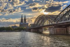 Sunset at Cologne Germany Stock Photo