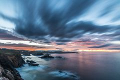 Sunset of color on Asturian coasts, Stock Images