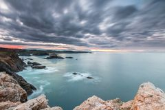 Sunset of color on Asturian coasts, Royalty Free Stock Photo