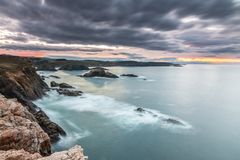 Sunset of color on Asturian coasts, Stock Photography