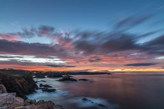 Sunset of color on Asturian coasts, stock image
