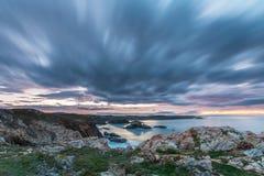 Sunset of color on Asturian coasts, Stock Photo