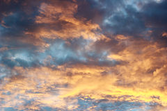 Sunset with color gradient nimbus clouds royalty free stock images