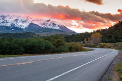 Sunset in Colorado mountains. A road in Colorado Mountains near Ourey Stock Image