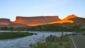 Sunset on the colorado river, moab, utah Royalty Free Stock Photography