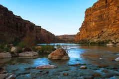 Sunset on the Colorado River near the Cathedral Wash, Arizona, U. View of the Colorado River from Cathedral Wash, Arizona, USA Royalty Free Stock Photography