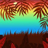 Sunset colored background with bushes, palm leaves vector stock illustration