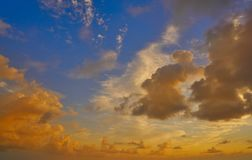 Sunset colorful dramatic sky clouds. Over Mexico Royalty Free Stock Images
