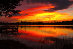 Sunset colorful with shadow. On lagoon at Mukdahan national park county of,Thailand Royalty Free Stock Images