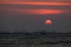 Sunset. Colorful sky sunset sea cargo ship silhouette Royalty Free Stock Photos