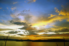 Sunset colorful. Tropical sky in around mountain Royalty Free Stock Photography