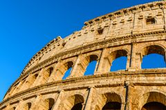 Sunset colors on the Colosseum or Coliseum, the Flavian Amphithe Stock Photography