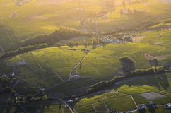 Sunset colors over vineyards and landscape of Beaujolais land Royalty Free Stock Photos