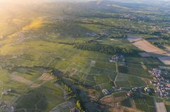 Sunset colors over vineyards and landscape of Beaujolais land Stock Photography