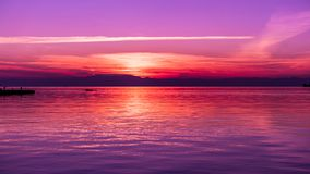 After Sunset Colors by the Sea, Purple tones Stock Photography