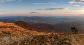 Sunset colors. View on the sunset from Carpathian mountains Stock Photos