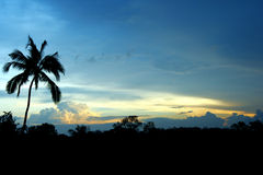 Sunset colours. Beautiful colours in a tropical sunset stock photography