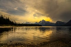 Sunset on Colter Bay in Grand Yeton National Park in Wyoming stock images