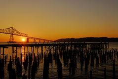 Sunset at Columbia river. View at Ocean from Columpia river in Astoria port in Oregon Stock Photos