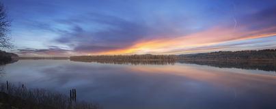 Sunset at Columbia River Panorama Stock Photos