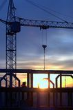 Sunset at construction site Stock Photography