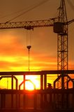 Sunset at construction site Stock Photos