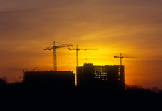 Sunset at the construction site. Royalty Free Stock Images