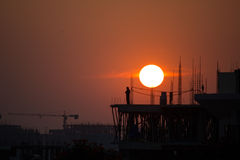 Sunset at the Construction Site Royalty Free Stock Photo