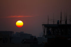 Sunset at the Construction Site Royalty Free Stock Images