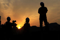 Sunset Construction site. Silhouette in Seoul South Korea stock photography