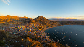 Sunset on Copacabana Bay, Titicaca Lake, Bolivia Royalty Free Stock Image