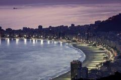 Sunset on Copacabana Beach in Rio de Janeiro Royalty Free Stock Photography