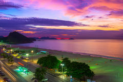 Sunset on Copacabana and Leme beach in Rio de Janeiro Royalty Free Stock Images