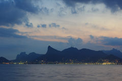 Sunset Corcovado Rio de Janeiro from Niteroi Royalty Free Stock Image