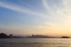 Sunset Corcovado Sugarloaf Rio de Janeiro from Niteroi Royalty Free Stock Images