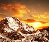 Sunset in Cordilleras mountain Stock Photo